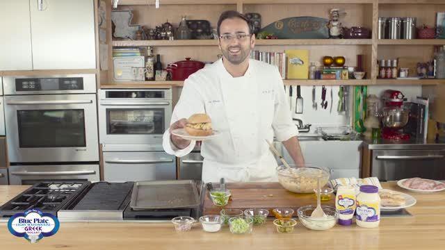 James Beard Award winner Chef Alon Shaya prepares Spicy Chicken Sandwich featuring Blue Plate Light Mayonnaise with Greek Yogurt