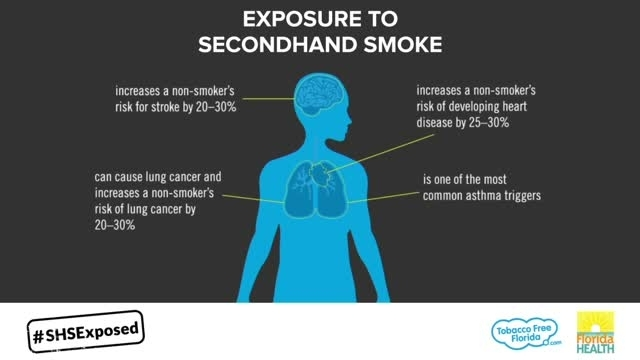 This infographic is a visual fact sheet about the dangerous effects of secondhand smoke exposure on an adult's body.