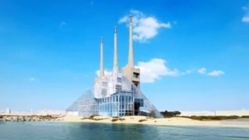The Adrian colossus would be linked to another great Egyptian colossus, the new library of Alexandria. Also, the contemporary cultural lighthouse that is Barcelona, symbolized by the chimneys, would connect with the old lighthouse.