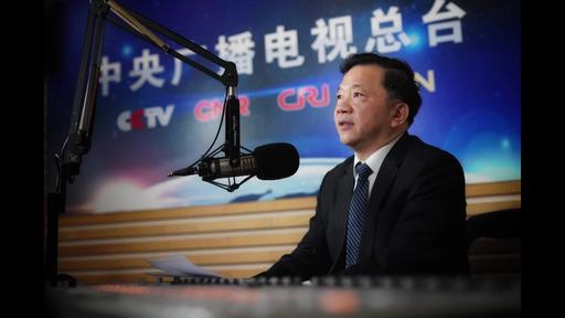 Shen Haixiong, President of China Media Group, extends his New Year greetings to overseas audiences. [Photo: China Plus]