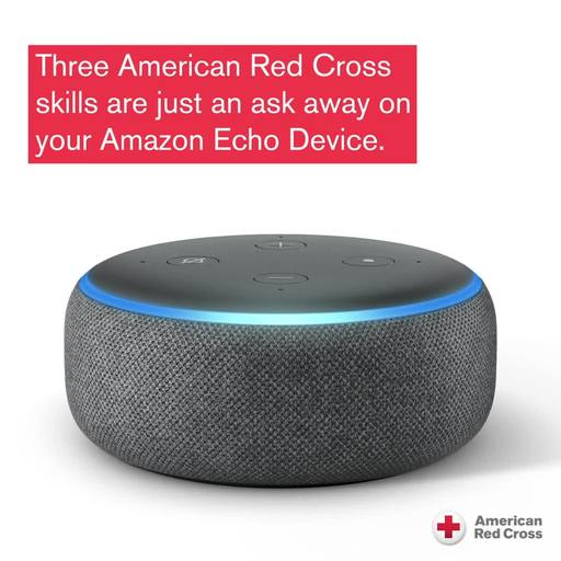 Highlights 3 amazing skills from the American Red Cross. Red Cross Blood – to schedule your next donation appointment. First Aid – educates you on first aid topics. Hurricane alerts – be notified about impending hurricanes and know your loved ones are safe.