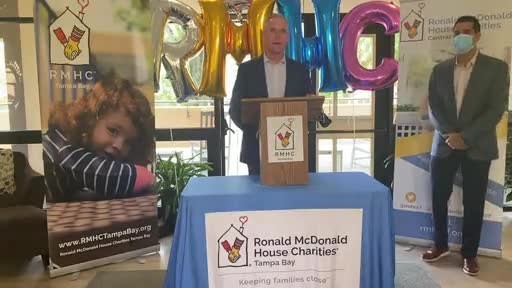 Franchisee Chris Frost shares the motivation behind the RMHC Drive Thru Challenge and why it was so important for McDonald's to step up and help local chapters raise more money during this difficult time.  Franchisee Javier Illas stands with Chris as representatives of the Central Florida Owner Operators.  The Central Florida group raised more than $550,000 of the southeastern restaurants' total $1.23 million in donations.