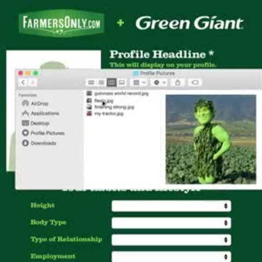 The Green Giant fills out his dating profile on FarmersOnly.com