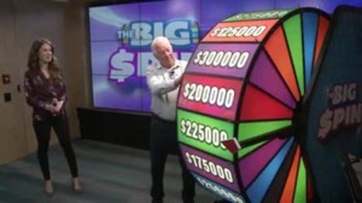Video: Robert Bronson of Brockville spins THE BIG SPIN Wheel at the OLG Prize Centre in Toronto. Bronson won a top prize with OLG's INSTANT game – THE BIG SPIN.