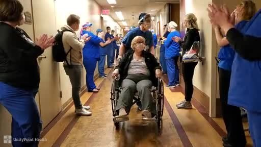 Married couple Cheryl and Jeff Poole of Waunakee, Wisconsin recently walked down a different kind of aisle when they were discharged together from UnityPoint Health - Meriter after successfully beating COVID-19.