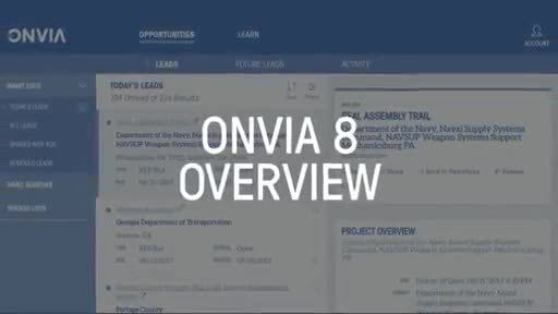 Onvia 8 is a sales intelligence platform that enables businesses to manage leads, pursue deals faster and plan strategically to get ahead of the bid.