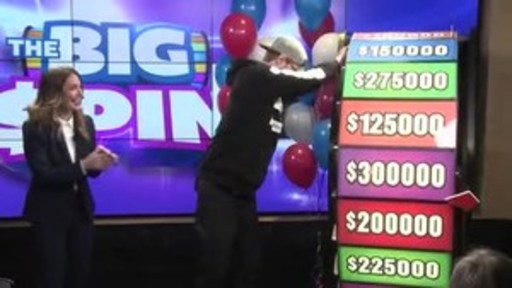 Video: Justin Hogg of Cambridge spins THE BIG SPIN Wheel at the OLG Prize Centre in Toronto. Hogg won a top prize with OLG's new INSTANT game – THE BIG SPIN.