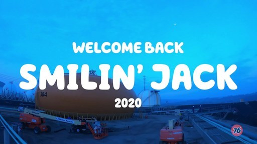 The making of Smilin' Jack at the Phillips 66 Los Angeles Refinery. In 2020, Smilin' Jack is wearing a face mask.