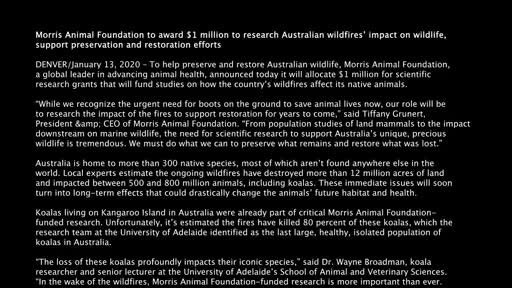 Morris Animal Foundation to award $1 million to research Australian wildfires' impact on wildlife, support preservation and restoration efforts