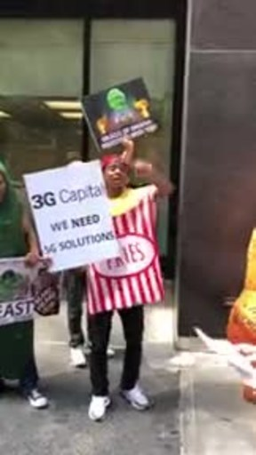 Demonstrators chant outside 3G Capital offices in New York, NY
