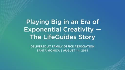 Mark Donohue speaking at Family Office Association Conference, Santa Monica, August 14, 2019.