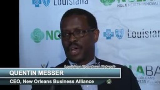 NOLABA President & CEO Quentin Messer describes the New Orleans Health Innovators Challenge. NOLABA presented NOLAHI with Blue Cross and Blue Shield of Louisiana and Ochsner Health System.