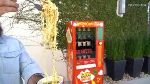 FOODBEAST News Video depicting the capabilities of the Instagram-powered 'DREAM MACHINE.' B-roll includes: footage of how to use the machine, where to find the machine, and the prizes the machine vends.