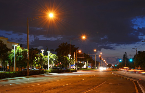 View of Copans Road in Pompano Beach, Florida before Evolucia's LED lighting retrofit. Safety, security and  ...