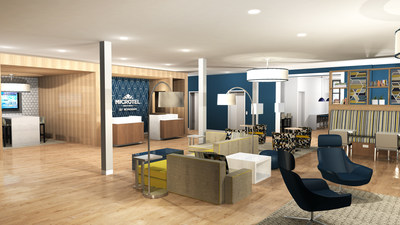 A rendering of Microtel Inn & Suites by Wyndham's redesigned lobby, one of nearly 30 newly unveiled brand initiatives across Wyndham Hotel Group.