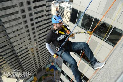 ExtremeTerrain CEO Steve Voudouris rappels down 29 stories above the Philadelphia skyline.