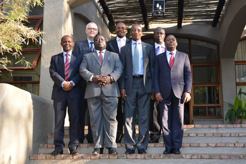 Top (L to R): Tom Phillips, Chief Regulatory Officer, GSMA; Moses Kunkuyu, Minister of Information, Republic of Malawi; Tseliso Mokhosi, Minister of Communications, Science and Technology, Kingdom of Lesotho. Bottom (L to R): Makame M. Mbarawa, Minister of Communications, Science and Technology, Republic of Tanzania; Yamfwa Mukanga, Minister of Transport, Works, Supply and Communications, Republic of Zambia; Nonofo E. Molefhi, Minister of Transport and Communications, Republic of Botswana; Eusebio Saide, Vice Minister of Transport and Communications, Republic of Mozambique. (PRNewsFoto/GSMA) (PRNewsFoto/)