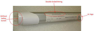A falsely UL-labeled double-ended LED tube without a safety switch.  (PRNewsFoto/Aleddra LED Lighting)