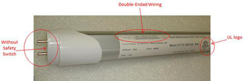 A Falsely UL Labeled Double Ended LED Tube Without A Safety Switch. (