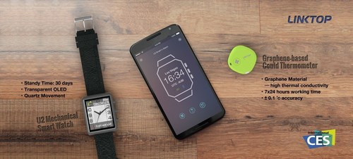World's First Mechanical Smart Watch and Graphene-based Thermometer presented at CES 2015 by Linktop