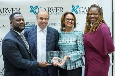 From left to right: Michael T. Pugh, President & CEO, Carver Federal Savings Bank; Nino Settepani and Leah Abraham, Settepani Restaurant; Blondel Pinnock, SVP, Chief Lending Officer, Carver Federal Savings Bank