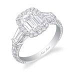 Diamond and platinum ring centering an emerald cut diamond surrounded by 20 round brilliant cut diamonds, accented by two tapered baguettes and further set with 92 smaller round diamonds. Total weight of all diamonds is approximately 4-carats. Handmade designed and signed by Neil Lane.