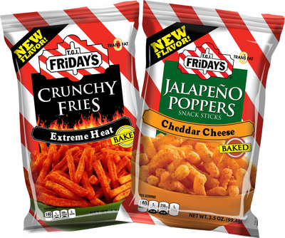 TGI Fridays(SM) introduces two new baked snacks that will appear in stores and vending machines this summer - Extreme Heat Crunchy Fries and Jalapeno Poppers Snack Sticks.  (PRNewsFoto/Inventure Foods, Inc.)