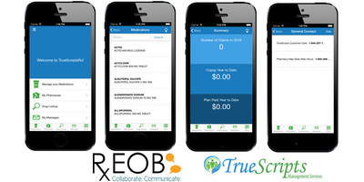 The TrueScriptsRx mobile application incorporates selected modules from RxEOB's innovative personal mobile pharmacy benefits application, emWellics(r), and is designed to help members save on their medication.