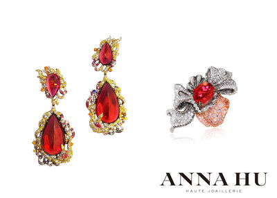 ANNA HU Fire Phoenix Earrings and Petales d'Amour Ring