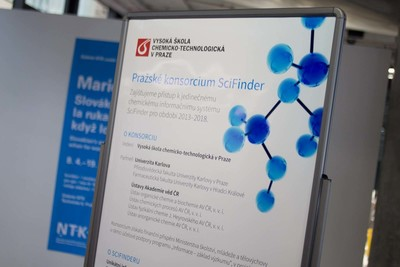 Signage welcomed members to the SciFinder celebration for the Prague Consortium. (PRNewsFoto/Chemical Abstracts Service)