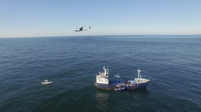 Aurora's Centaur Optionally-Piloted Aircraft flies above the M/V OCEARCH providing aerial assistance in locating great white sharks in the waters off of Nantucket.