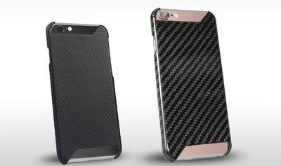 Left: Carbon Trim Case for iPhone 7 in 1x1 weave with a matte finish. Right: Carbon Trim Case for iPhone 7 Plus in 2x2 weave with a gloss finish.