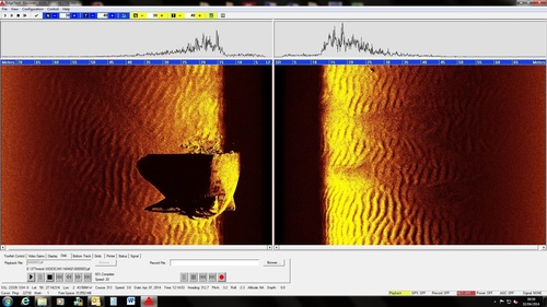 Side scan sonar image of LST 531 taken from the REMUS 100 (PRNewsFoto/Hydroid, Inc.)