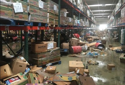 Damage caused by flooding to the Baton Rouge Food Bank.