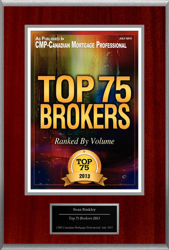 "Sean Binkley, Mortgage Broker, Your Home Team @ Dominion Lending Centres Alliance Selected For ""Top 75 Brokers 2013"".  (PRNewsFoto/American Registry)"