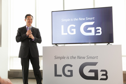 Frank Lee, Senior Manager, Brand Marketing for LG MobileComm, presents at the global launch of LG G3 Tuesday, May 27, 2014, in New York (PRNewsFoto/LG Electronics MobileComm USA)