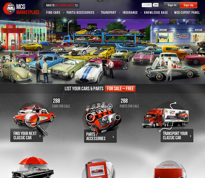 MCG MarketPlace Screen Capture.  (PRNewsFoto/MyClassicGarage.com)