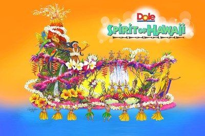 Dole Packaged Foods' 2017 Rose Parade float, Spirit of Hawaii, celebrates the company's Hawaiian heritage and commitment to preserving paradises across the globe through sustainable and environmentally-friendly operating practices.
