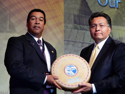 "NAFSA's Executive Director, Lance Gumbs (left) receiving the National Center for American Indian Enterprise Development's ""Advocate of the Year"" Award."