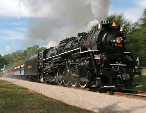 Nickel Plate locomotive NKP 765, owned and operated by the Fort Wayne Railroad Historical Society. ...