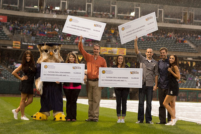 WGU awarded four students a one year scholarship at the Salt Lake Bee's game last week. (PRNewsFoto/Western Governors University)
