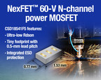 60-V N-channel FemtoFET power transistor from Texas Instruments provides the industry's lowest resistance that is 90% below traditional 60-V load switches, reducing power loss in end-systems. The CSD18541F5 is offered in a tiny 1.53-mm-by-0.77-mm silicon-based package that has an 80% smaller footprint than load switches in SOT-23 packages.