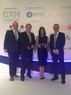 Moorfields senior executives with the International Eye Clinic of the Year award. (PRNewsFoto/Moorfields Eye Hospital)