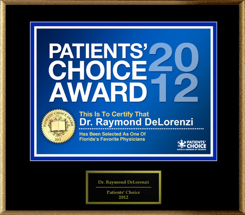 Dr. DeLorenzi of Melbourne, FL has been named a Patients' Choice Award Winner for 2012