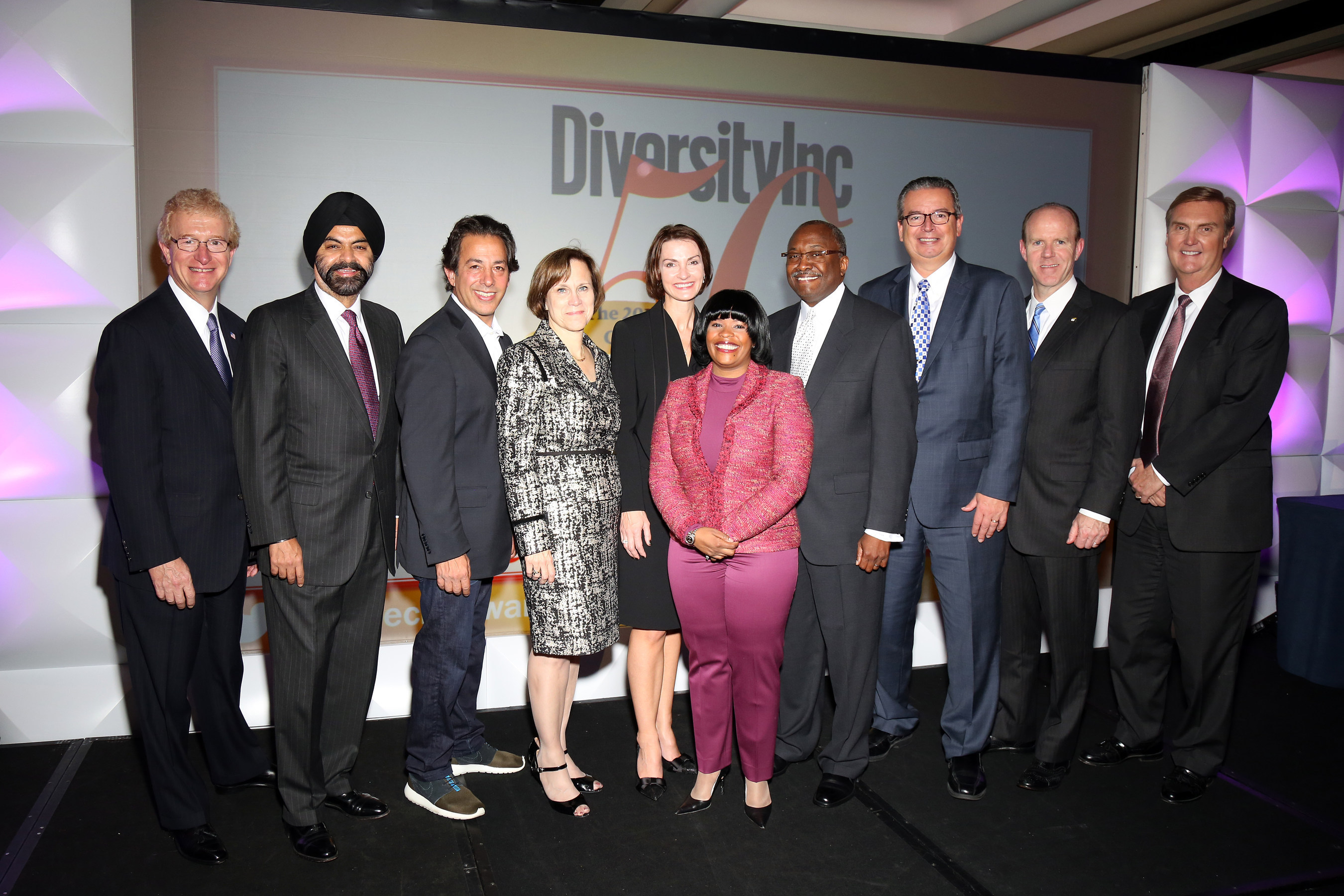 From left to right: Stephen Holmes, Chairman and CEO, Wyndham Worldwide; Ajay Banga, President and CEO, ...