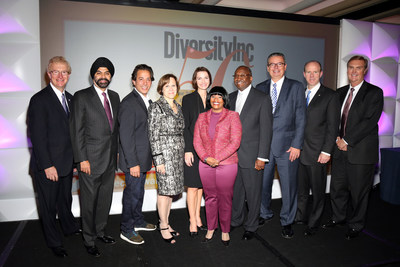 From left to right: Stephen Holmes, Chairman and CEO, Wyndham Worldwide; Ajay Banga, President and CEO, MasterCard Worldwide; Luke Visconti, CEO, DiversityInc; Barbara Frankel, SVP, Executive Editor, DiversityInc; Christi Shaw, President, Novartis Pharmaceuticals Corporation; Carolynn Johnson, COO, DiversityInc; Willie Deese, EVP and President, Merck Manufacturing Division; George Chavel, President and CEO, Sodexo; Stephen Howe Jr., Americas Managing Partner, EY; and Stephen J. Rohleder, Group Chief...