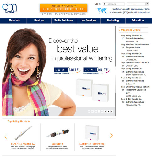 Introducing DenMat's Totally New Web Site @ DenMat.com Featuring a New On-Line Store, New Page