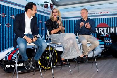To kick off Spanish Grand Prix weekend, Williams MARTINI Racing drivers Felipe Massa and Valtteri Bottas share a laugh with MARTINI Race Photographer Alice Dellal at the Terrazza MARTINI in Barcelona