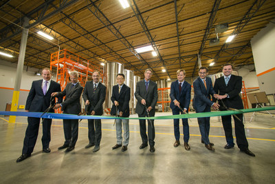 Agrinos' board of directors celebrate the opening of the company's new production facility.