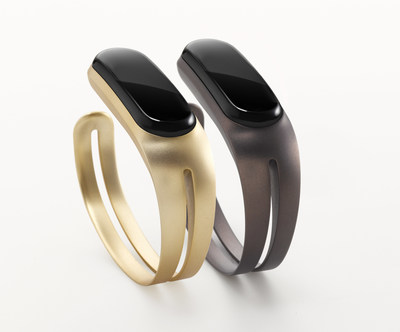 Mira Fitness Bracelet available in Brushed Gold and Midnight Purple.